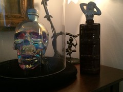 SIMON AND SPIRIT (Cabinet of Old Secret Loves) Tags: simon spirit ghost ghosts spirits bottle girl aurora crystal head vodka spider black halloween october fall autumn spooky eearie haunting huanted room