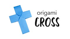Easy Origami Cross / Crucifix Tutorial  DIY  Halloween  Paper Kawaii (paperkawaii) Tags: origami instructions paperkawaii papercraft diy how video youtube tutorial