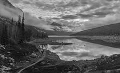Medicine Lake (djmeister) Tags: draining japser cloud nationalpark reflections medicinelake low maligneriver rockies