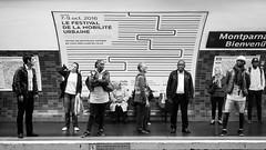 Pour la Mobilit il faut passer par l'Immobilit (amor du 94) Tags: architecture cadrage carrelage entrailles humour metro montparnasse parissud passants station sujet texture transport ligne6 montparnassebienvenue paris 14me danslemtro mtro publicit scne vtement street