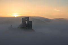 Sunrise through the mist at Corfe Castle (Derek Robison) Tags: mist castle corfecastle sunrise ruins dorset architechture