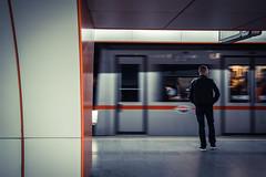 waiting for (MarcusWitte) Tags: wien sterreich austria station bahn train man men human waiting ba ubahn sbahn blue red central down under standing still wait architektur stil urban