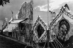 Sneek - Outside the Circus. (parnas) Tags: sneek friesland nederland circus zwartwit blackandwhite blackwhite analoog film ilforddelta darkness nighttime avond