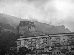 Misty Morning (gibwheels) Tags: morning mist moorish castle rock gibraltar british black white monochrome upper town nikon