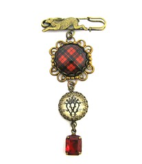 Ancient Romance Series - Scottish and Irish Tartans Collection - Wallace Clan Tartan Scottish Hare Brooch with Luckenbooth Charm and Siam Red Glass Gem