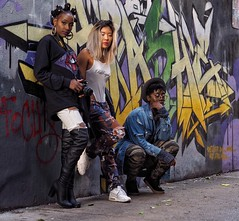 Simone, Emily and Chantay (Richard Pilon) Tags: urban humanfamily streetstyle portrait stranger toronto street streetportrait olympus streetphotography people streetportraiture strangers city portraitphotography graffitialley graffiti