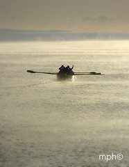 Gig on an autumn morning at west bay (Margaret Preuss-Higham) Tags: autumn sea people beautiful silhouette gig steam dorset rowing atmospheric oars westbay