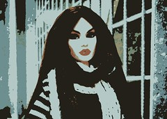 Posterize (Deejay Bafaroy) Tags: portrait brown white black home closeup dorothy toys outdoors grey beige doll stripes go gray grau portrt braun fr weiss schwarz striped rayna puppe draussen streifen posterize integrity gestreift fashionroyalty nufantasy