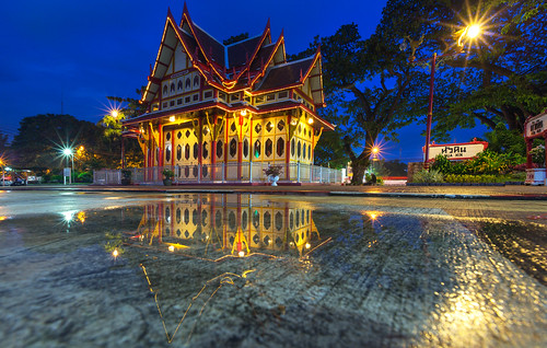 reflection of the Hua Hin train station in Thailand