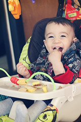 Day 16/365 - Jay 365 - January 16, 2015 (strawberry sugar) Tags: boy food baby smile breakfast canon fun happy 50mm funny jay teeth swing eat laugh 365 sl1 365days 365project strawberrysugar