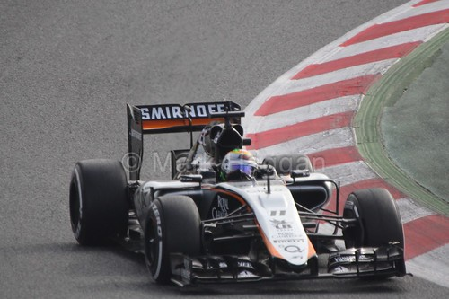 Sergio Perez in the Force India in Formula One Winter Testing 2015