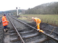 Steohen and Andy digging our ballast at 2 points 17Jan15