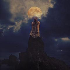 dreaming in darkness (brookeshaden) Tags: moon mountain inspiration hawaii blog dangerous rocks darkness fineart maui dreaming nighttime hana stormysky videoblog nightgown fineartphotography motivational darkart conceptualphotography