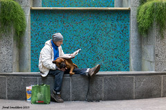 Taking a break (Streetphotography by Joost Smulders) Tags: city urban dog man color colour men germany relax candid streetphotography cologne hond stad duitsland keulen kleur straatfotografie