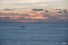 Montemarcello (Simone Vanelli) Tags: sunset sea italy clouds landscape italia tramonto nuvole mare ship liguria nave golfo spezia poeti montemarcello