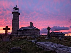 Lundy Island Sunset, N. Devon, UK (Landscape_Lover.) Tags: sunset sky lighthouse graveyard clouds cemetary tombstones atlanticocean timeless unchanged northdevon bristolchannel oldlight lundyisland