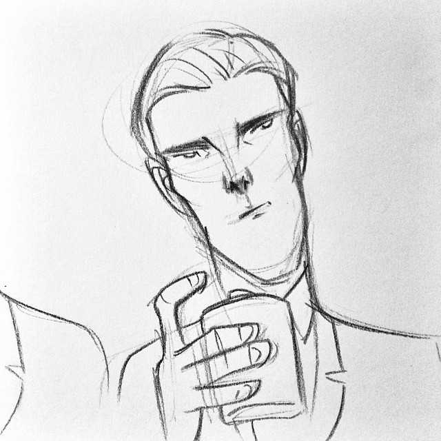 #thestarkat  Lets see how long this live sketching can last tonight.  Heres beautiful boozy Benedict Cumberbatch during the opening song.  #oscars2015