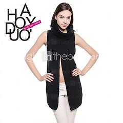 со свободной черной высокая шея haoduoyi женской Sleevless шик вязание кардиган свитер