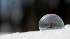 The Start of Collapse (Trish P. - K1000 Gal) Tags: winter reflection frozen globe experiment sphere bubble activity