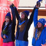 CWG SX Podium, Katie Fleckenstein (WMSC) on top, Nicole Mah (Grouse) in second PHOTO CREDIT: Jan Donald
