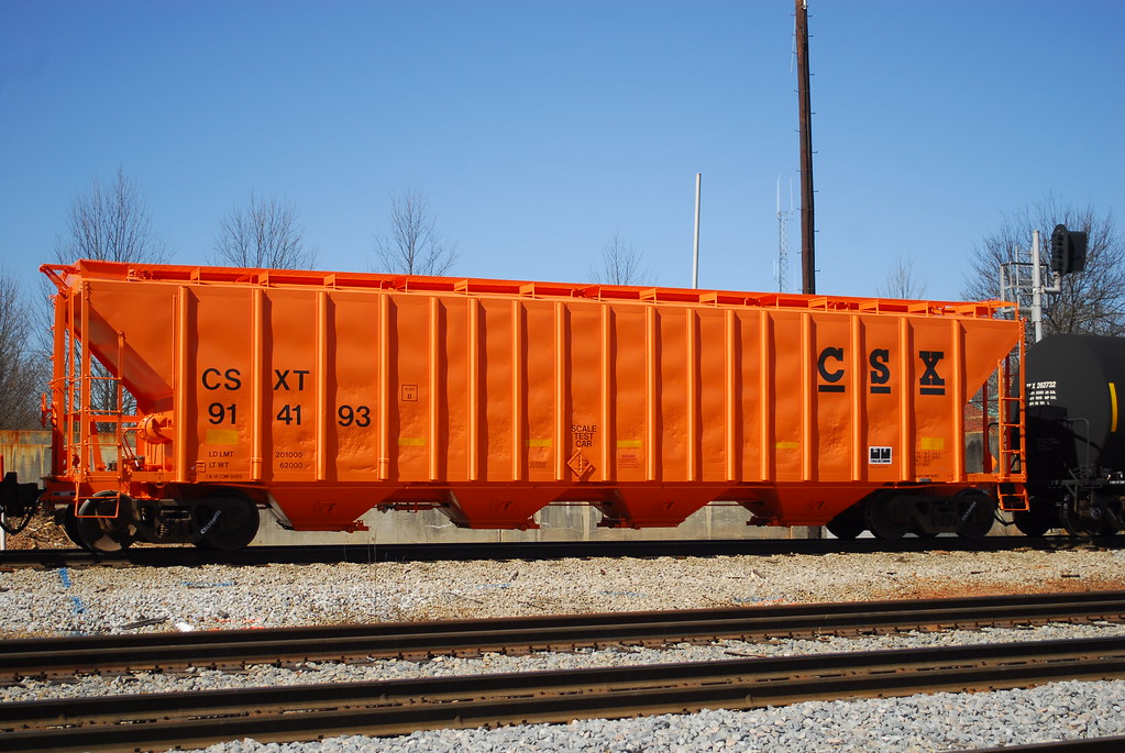 Orange Covered Hopper Car
