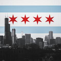 Happy Birthday Chicago (Amanda Huerta) Tags: birthday city roof white chicago amanda black rooftop skyline happy downtown cityscape flag huerta