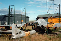 Vampire bits at the Montrose Air Station Museum, 1994 (Troonafish) Tags: plane scotland vampire aircraft aviation military jet scottish aeroplane planes montrose preserved tayside trainer raf aeroplanes militaryaviation booms dehavilland dismantled planespotting aircraftmuseum royalairforce aircraftspotting historicaviation scottishaviation preservedaircraft dhvampire vampiret11 wrecksandrelics openstorage dhvampiret11 preservedaeroplane montroseairstationmuseum montroseairstationheritagecentre xe874 montroseairfield gavtroon gavintroon aviationscotland xd528