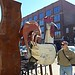 Ali by giant rooster sculpture, Old Market, Omaha
