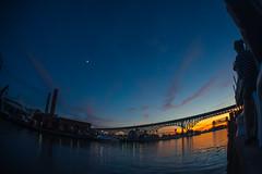 Perfect July Sunset (IAmTheSoundman) Tags: cleveland ohio downtown flats eastbank hilton sunset summer train rta river takumar 17mm m42 sony a99