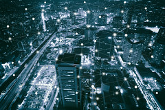 Smart city scape and network (Krunja) Tags: world city blue light wallpaper abstract motion geometric japan skyline modern digital computer idea design office community energy technology skyscrapers graphic symbol background web internet creative social icon structure line communication medical business fantasy wifi data wireless networking network concept shape electronic connectivity connection element atom infographic global connect morden infograph