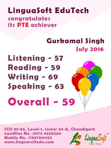 Gurkamal Singh - Overall PTE Score 59