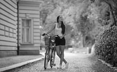 Girl, bike and the city (Pavel Valchev) Tags: bike girl sofia street portrait smayang 85mm mf lens sony