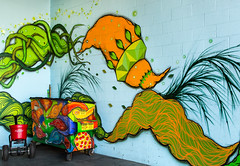 A new approach to trash (docoverachiever) Tags: city urban streetart building art wall oregon portland colorful manmade quirky trashbin 41116 buckmanneighborhood