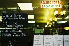 Workers Breakfast (emilyharriet) Tags: city england food film breakfast analog 35mm menu cafe workers yorkshire leeds workersbreakfast