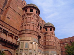 Agra. Exterior walls of the massive red sandstone Agra Fort built by Akbar from Afghanistan from 1565 to about 1595. (denisbin) Tags: india agra agrafort akbar moghul mogul sandstone