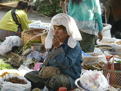 Kalaw (simo2582) Tags: people asian asia burmese shanstate shan birma birmania burma myanmar market kalaw human trade typical hilltribes tribes mountain hillstation village countryside travel reise blick unterwegs world traditional 5daysmarket groceries street smoking woman