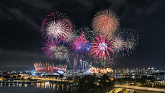Colored Sparklers (Mabmy) Tags: singapore fireworks ndp preview 2016 kallang national stadium colors sparklers buildings lights merdeka bridge evening night sony a7r2 voightlander 12mm composite