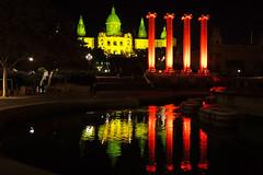 Barcelona by night. Palau Nacional & the Pillars (Andrey Sulitskiy) Tags: spain barcelona