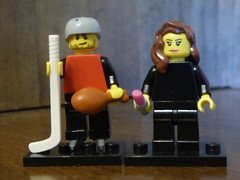 Brick Yourself Figure -Bruised Hockey Player and Lipsticked Lady