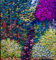 Fantasy Forest (Colormaniac too) Tags: quilt quilted wallhanging landscape applique threadpainting prizewinning fiberart exhibition quiltshow cotton rayon threads colorful inside forest fantasy artistic pacific northwest original