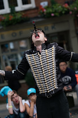 Sword swallower (Mister Oy) Tags: davegreen oyphotos oyphotos york fujixpro2 fuji90mmf2 sword streetperformer swordswallower entertainer people