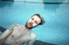 (Basak U.) Tags: blue summer film water analog 35mm olympus scan swimmingpool analogue olympusom1 yaz havuz silivri zuiko28mm28 tudorcolorxlx200