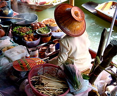 Smells and tastes of the river (leewoods106) Tags: trip travel blue red vacation people food brown green cooking wet water beautiful vegetables hat yellow wonderful river thailand boats person photography boat photo asia southeastasia market photos bangkok steam delicious journey thai persons traveling motorboat floatingmarket smells strawhat thaifood chopstix traveler ayutthaya beautifulplaces longtailboats upriver riverpeople pasakriver mustseeplaces