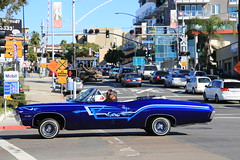 All My Friends Know the Low Rider... (Jill Clardy) Tags: auto blue italy holiday streets sexy classic car vintage bay harbor big automobile san shiny little balloon cruising diego convertible bowl parade chevy topdown 1968 collectible impala lowrider blvd sapphire 4b4a2244