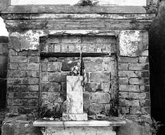 Everyday New Orleans 2014: The Cemeteries (away for the summer, marysmyth(NOLA13) ) Tags: brick film cemetery neglect mediumformat blackwhite flag neworleans american gardendistrict disrepair citiesofthedead kodaktrix400 mamiya7ii lafayettecemeteryno1