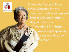 "The Queen Mother: ""I wonder how Edward Heath would like being a Miner for a day."" (Gresham College) Tags: 1974 queen heath strike primeminister miners queenmother britishpolitics politicalhistory edwardheath minersstrike queensmother englishpolitics bogdanor vernonbogdanor britishpoliticalhistory heathpolitics englishpoliticalhistory thequeensmother secondminersstrike"