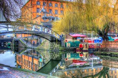 canalfr!3d (alonentity) Tags: morning bridge england reflection tree london art water architecture photography boat town canal still artwork market camden regentscanal british camdentown hdr eng waterways nw1 camdenlock canalmarket regentscanallondon