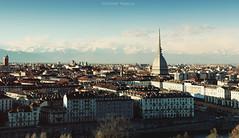 Panoramica dal Monte dei Cappuccini (vince_enzo) Tags: photoshop montagne canon landscape torino eos nuvole fiume cielo panoramica po photomerge mm piazza mole alpi barocco vittorio antonelliana 18135 600d