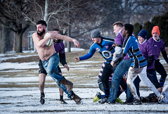 Breaking from the scrum (rikki480) Tags: park winter shirtless game festival club rugby indiana annual runner scrum fortwayne lawton winterval