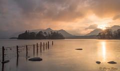 On Golden Pond. (Glenn D Reay) Tags: sunset lake mountains lines fence golden rocks pentax district derwentwater keswick leading cumbia k30 cokinfilters sigma1770hsm pentaxart glennreay